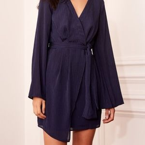 THE FIFTH label BNKR Gilded Wrap dress navy L (8)